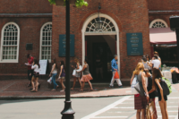 Busy street in front of the Old South Meeting House.