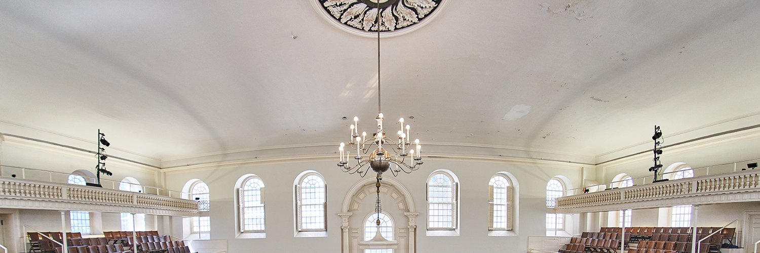 The chandelier in the nave of the Old South Meeting House.