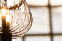 A hanging light at the Old South Meeting House.