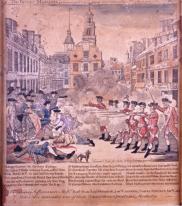 """Paul Revere's engraving of """"The Bloody Massacre"""""""