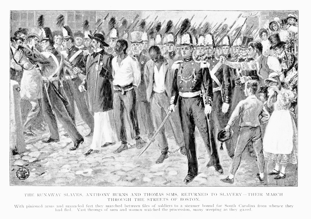 The Runaway Slaves, Anthony Burns and Thomas Sims, Returned to Slavery - Their March Through the Streets of Boston.